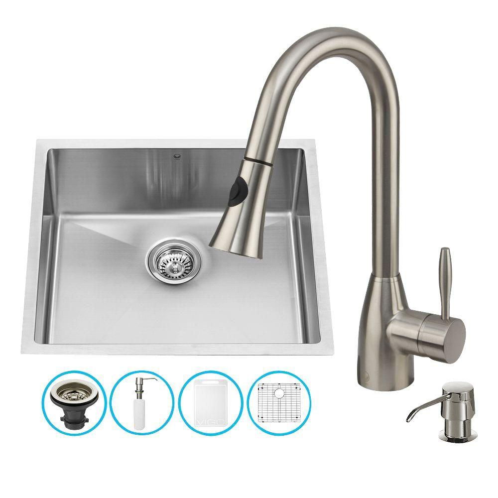 Vigo Stainless Steel All In One Undermount Kitchen Sink And Faucet Set 23 Inch The Home Depot