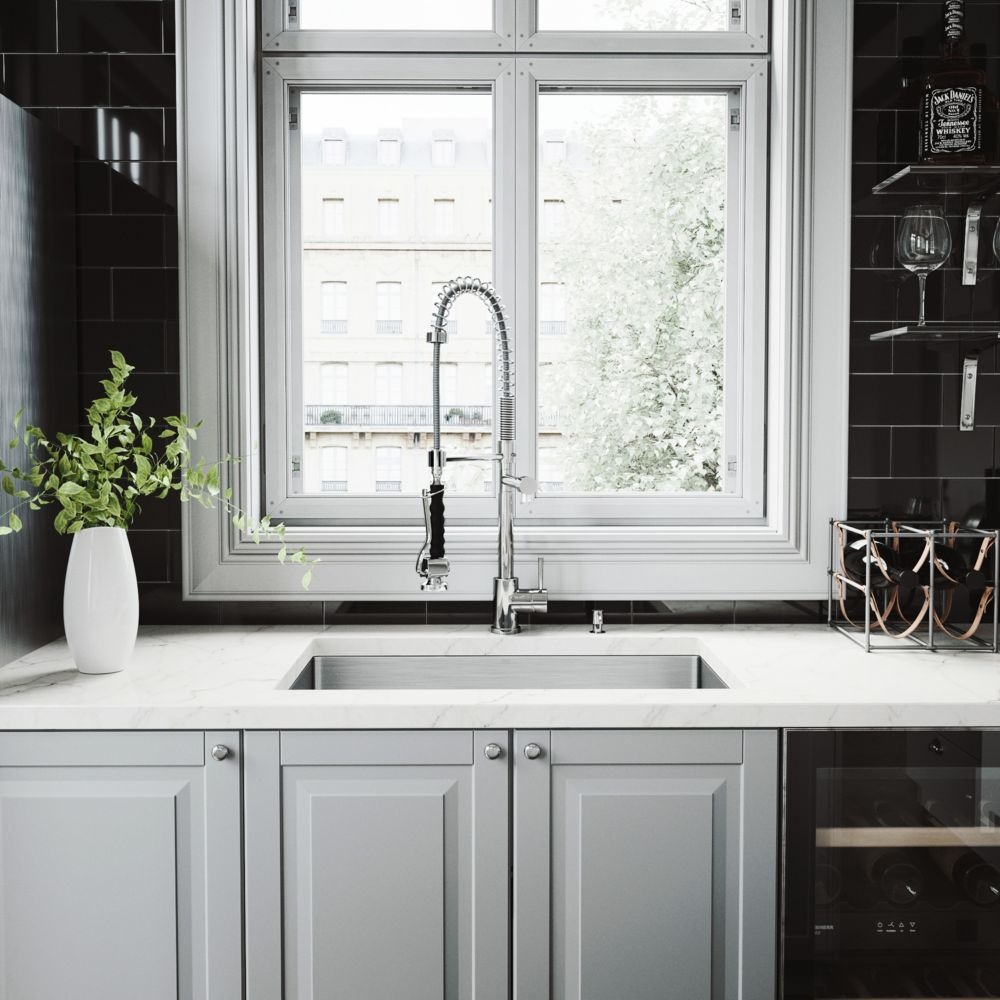 Stainless Steel All in One Undermount Kitchen Sink and Chrome Faucet Set 30 Inch