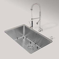 VIGO Stainless Steel All in One Undermount Kitchen Sink and Faucet Set 30 Inch