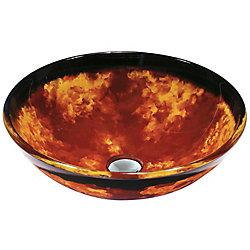VIGO Auburn And Mocha Fusion Handmade Countertop Glass Round Vessel Bathroom Sink