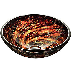 VIGO Northern Lights Handmade Glass Round Vessel Bathroom Sink in Black and Gold Fusion