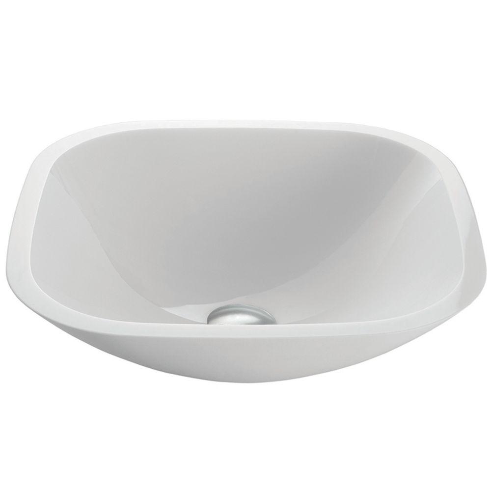 Square Shaped White Phoenix Stone Vessel Bathroom Sink