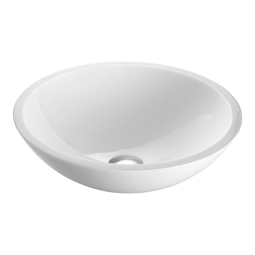 Flat Edged White Phoenix Stone Vessel Bathroom Sink