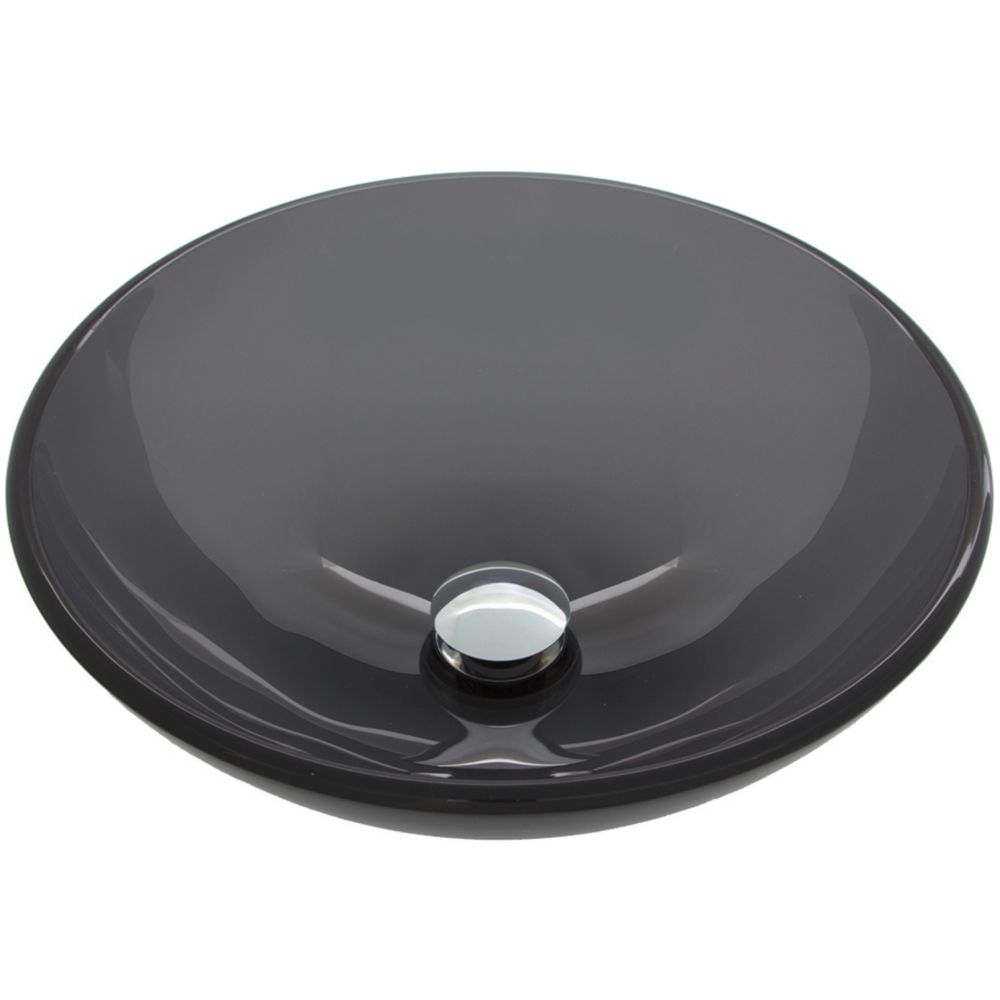 Vigo sheer black glass vessel bathroom sink the home for Black vessel bathroom sink