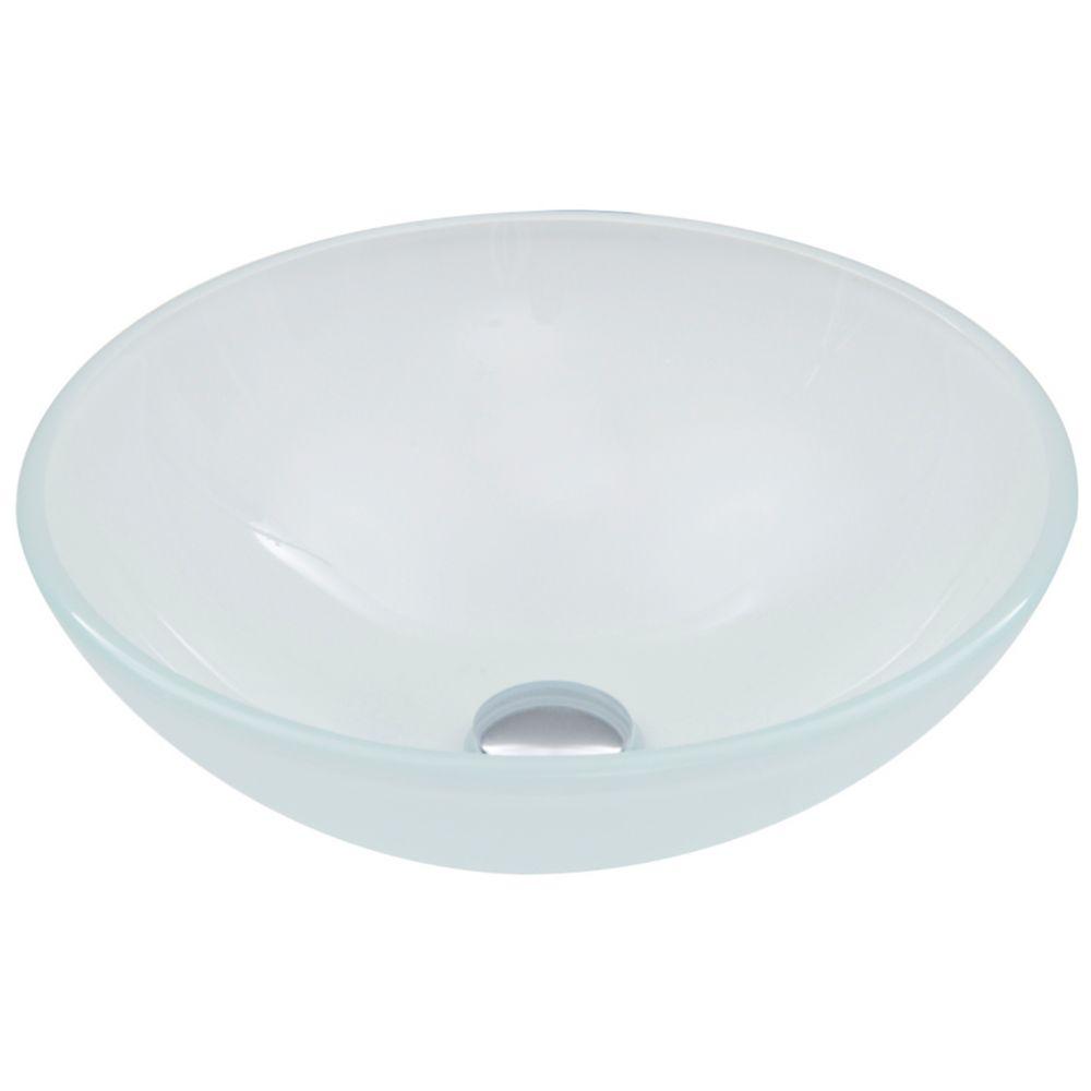 White Frost Glass Vessel Bathroom Sink
