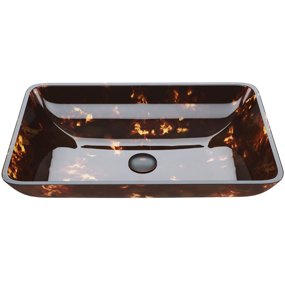 Rectangular Brown and Gold Fusion Glass Vessel Bathroom Sink