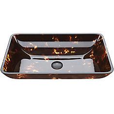 Vasque de salle de bains rectangulaire en verre brun et doré Fusion de