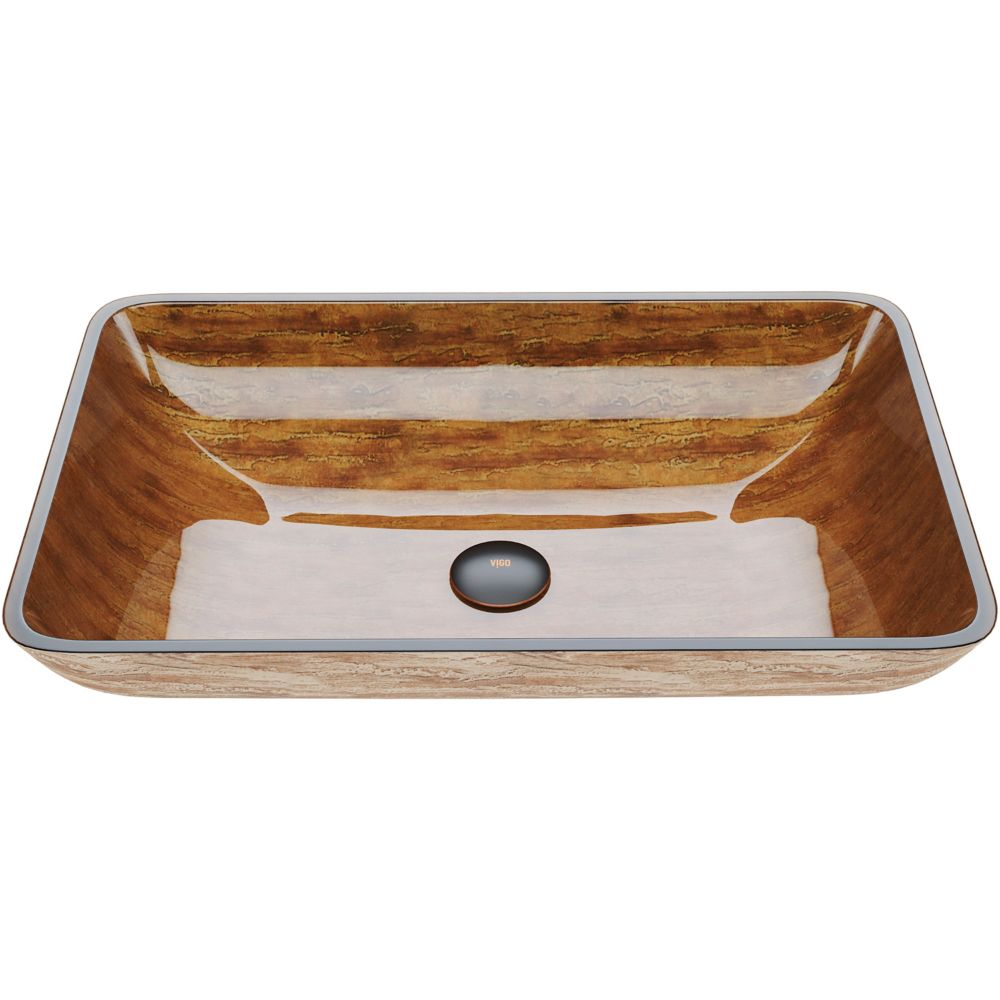 Glass Vessel Sink in Amber Sunset