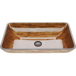 VIGO Amber Sunset Handmade Countertop Glass Rectangle Vessel Bathroom Sink in Light Wood