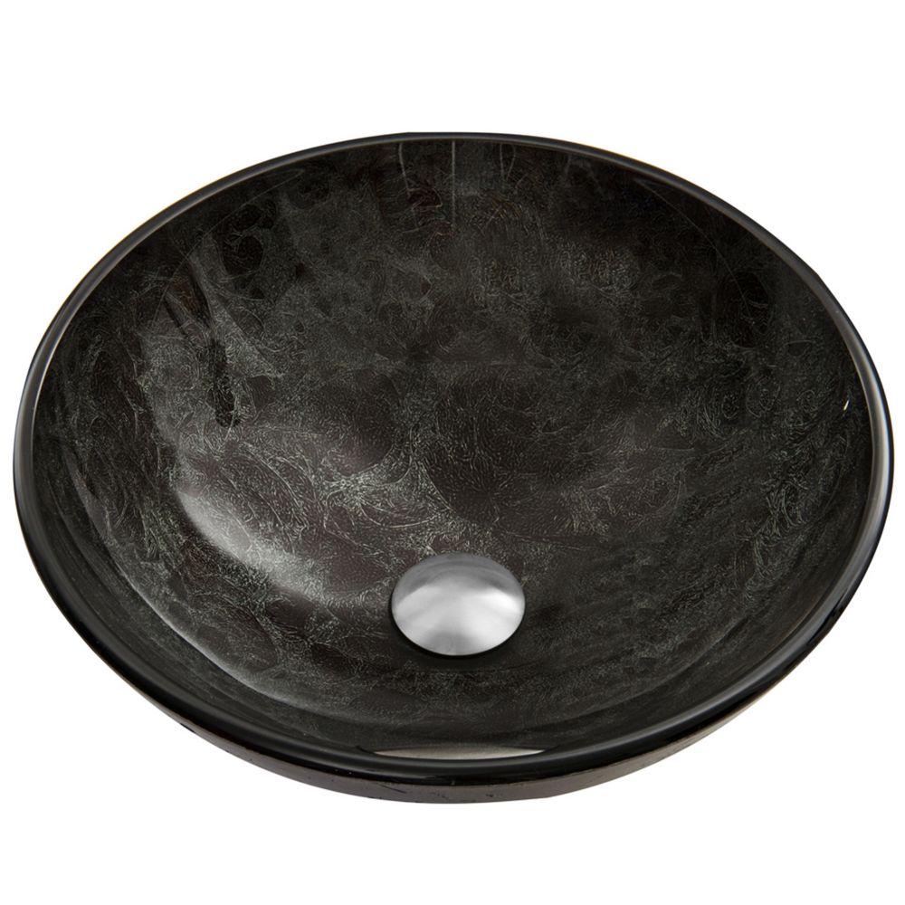 Vigo Glass Vessel Sink in Gray Onyx