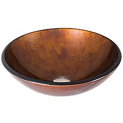 VIGO Russet Handmade Countertop Glass Round Vessel Bathroom Sink