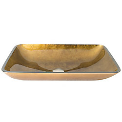 VIGO Copper Handmade Countertop Glass Rectangle Vessel Bathroom Sink in Copper