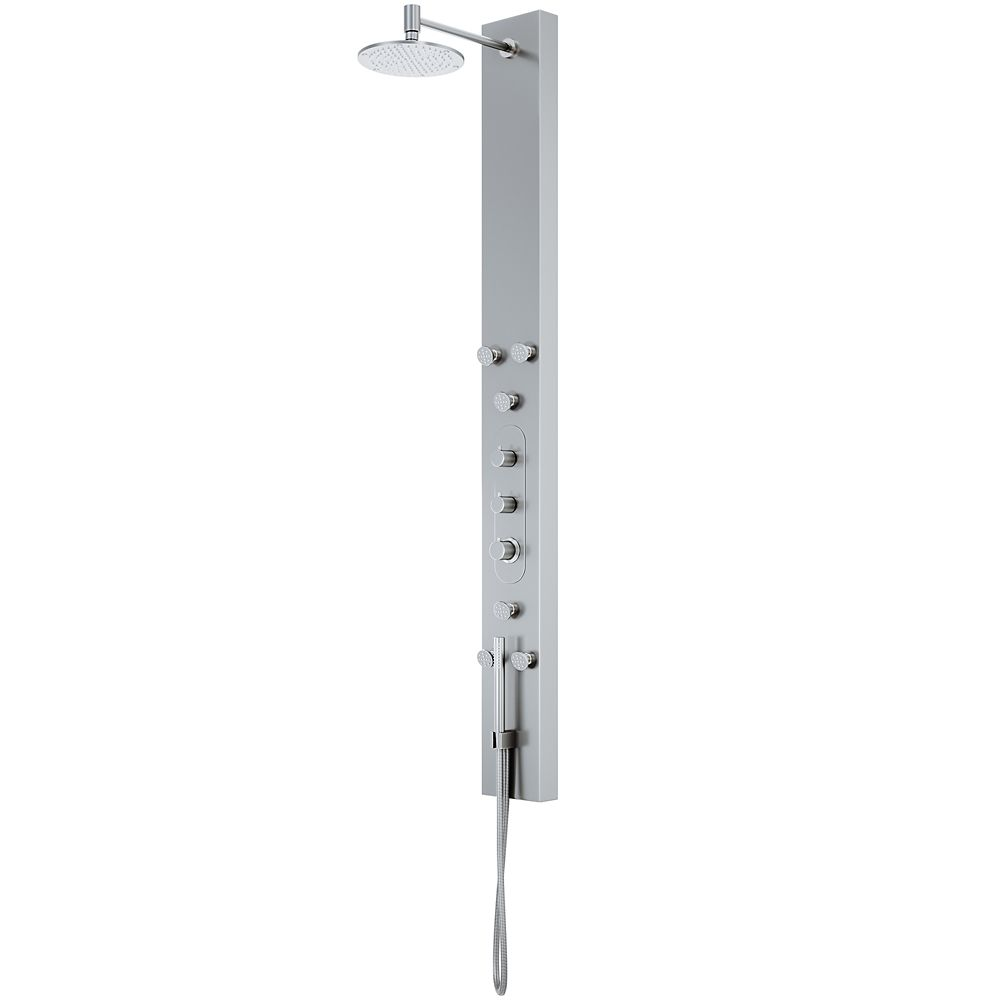 Shower Panel System with Rain Showerhead and Hand Shower in Stainless Steel