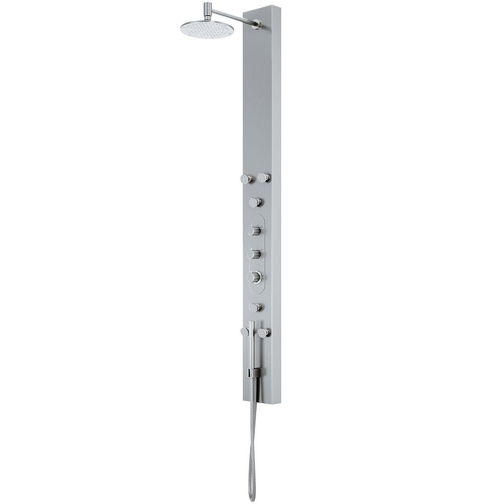 Panneau de douche en acier inoxydable avec pommeau de douche rond effet pluie