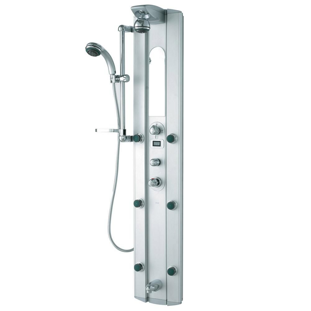 Shower Panel System with Digital Thermometer and Faucet in Satin