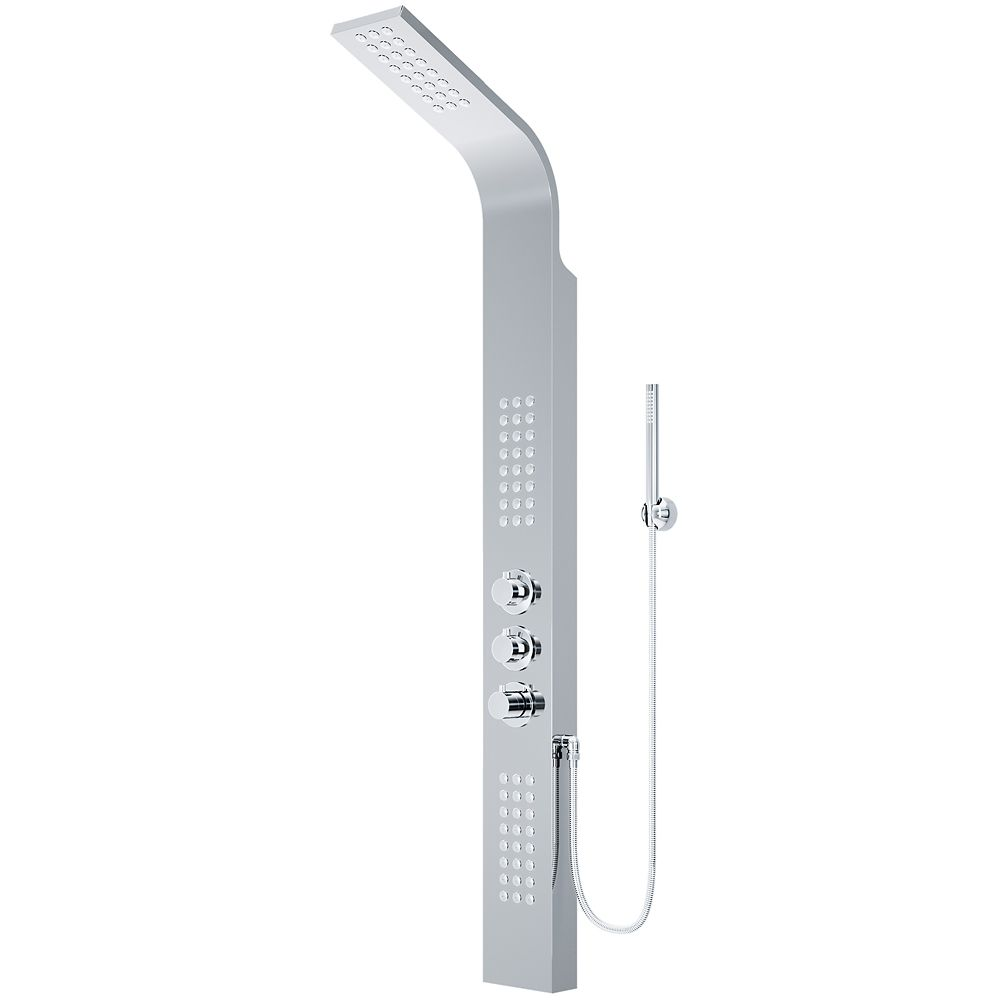 Shower Panel System with Rain Showerhead in Chrome