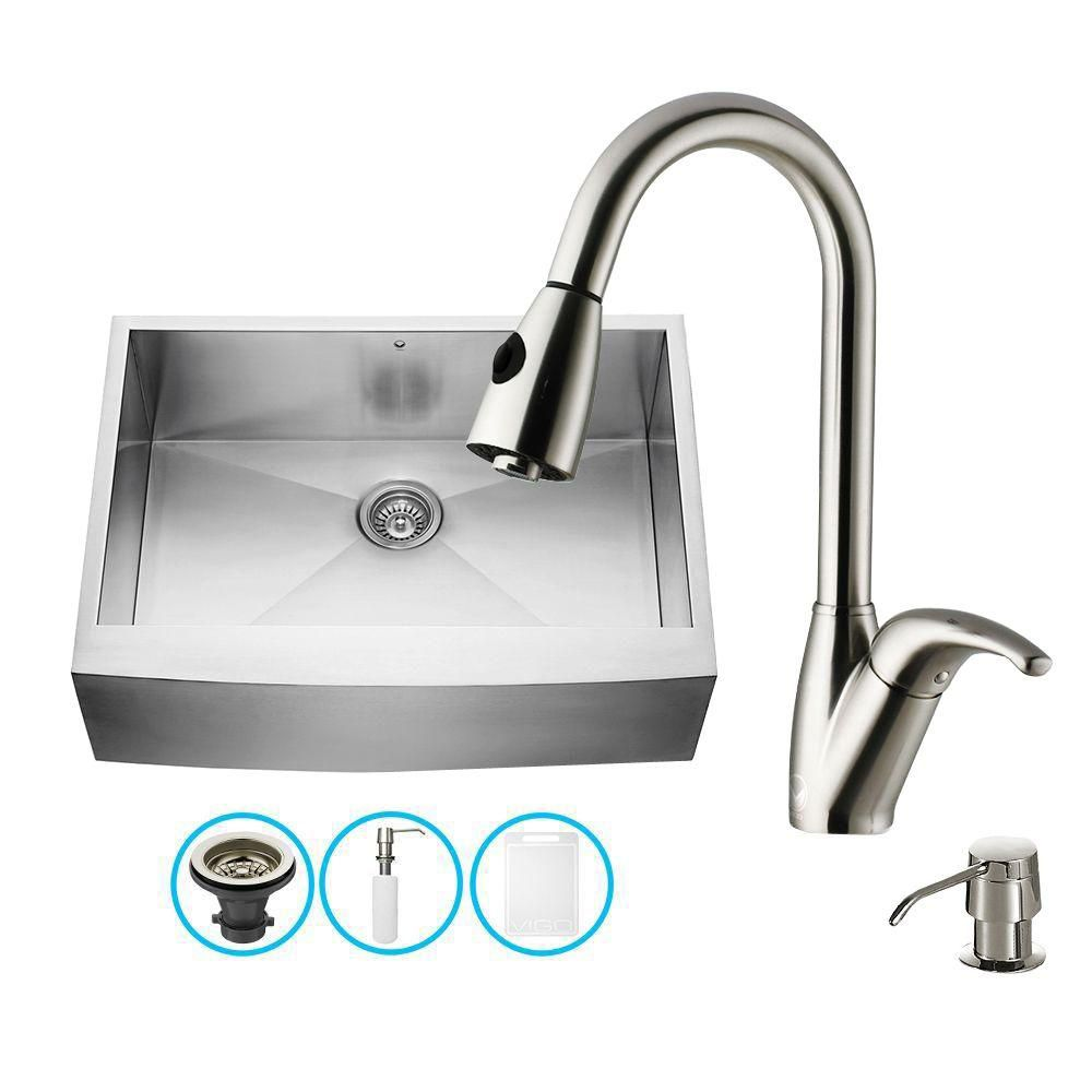 Stainless Steel Farmhouse Kitchen Sink Faucet and Dispenser