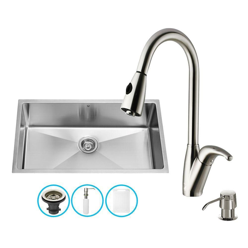 Stainless Steel Undermount Kitchen Sink Faucet and Dispenser