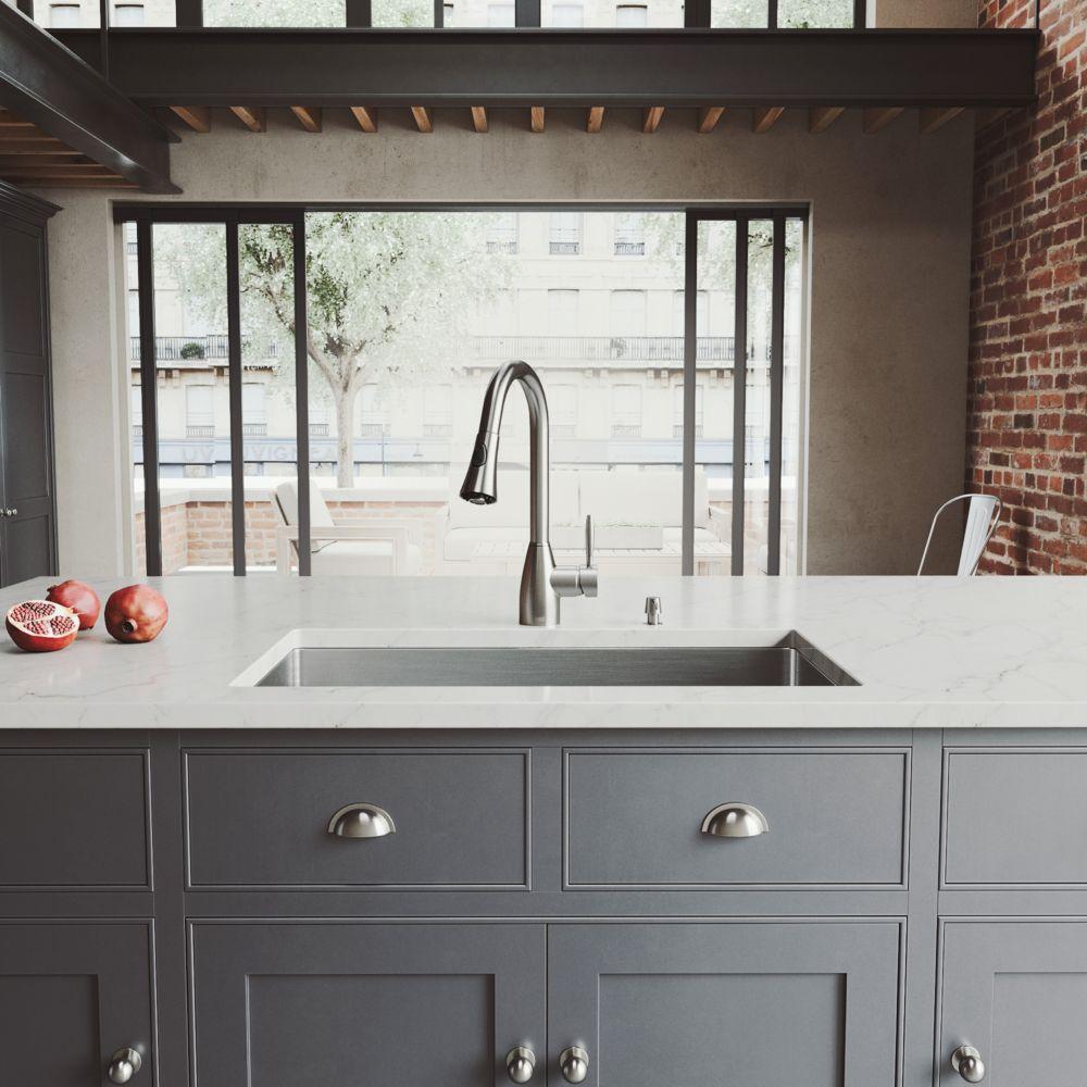 Stainless Steel Undermount Kitchen Sink Faucet Grid Strainer and Dispenser