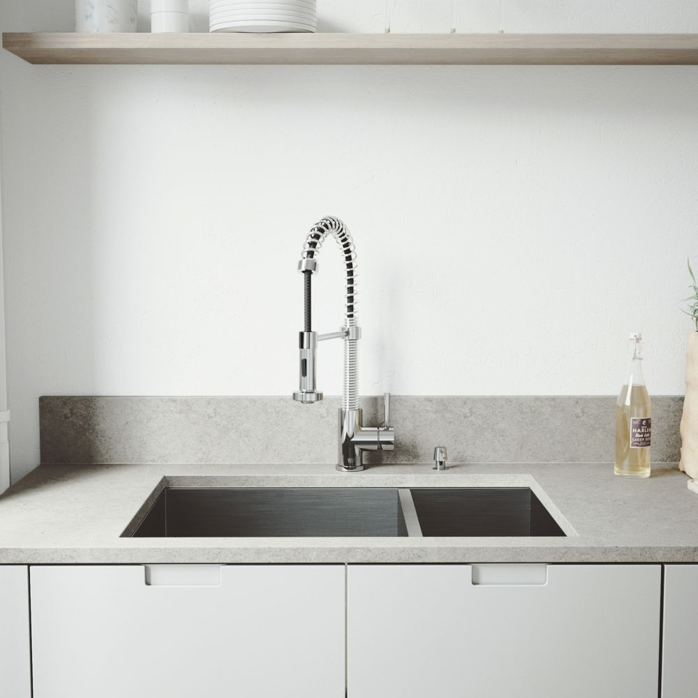 vigo stainless steel undermount kitchen sink faucet two grids two strainers and dispenser the. Black Bedroom Furniture Sets. Home Design Ideas
