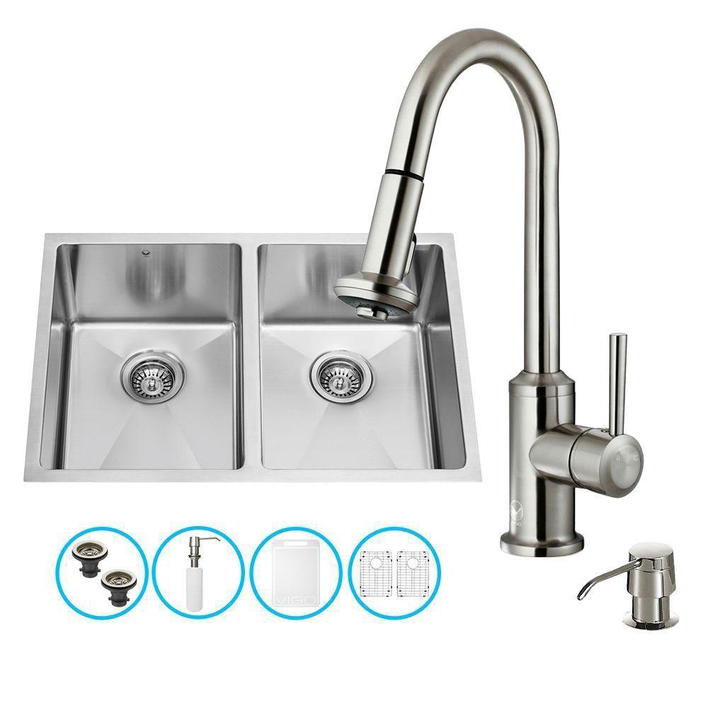 Evier, robinet, deux grilles, deux crépines et distributeur de savon Undermount en acier inoxydab...