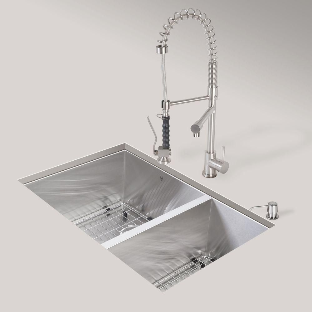 Stainless Steel Undermount Kitchen Sink Faucet Two Strainers and Dispenser