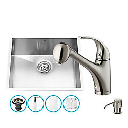 VIGO Stainless Steel All in One Undermount Kitchen Sink and Faucet Set 23 Inch