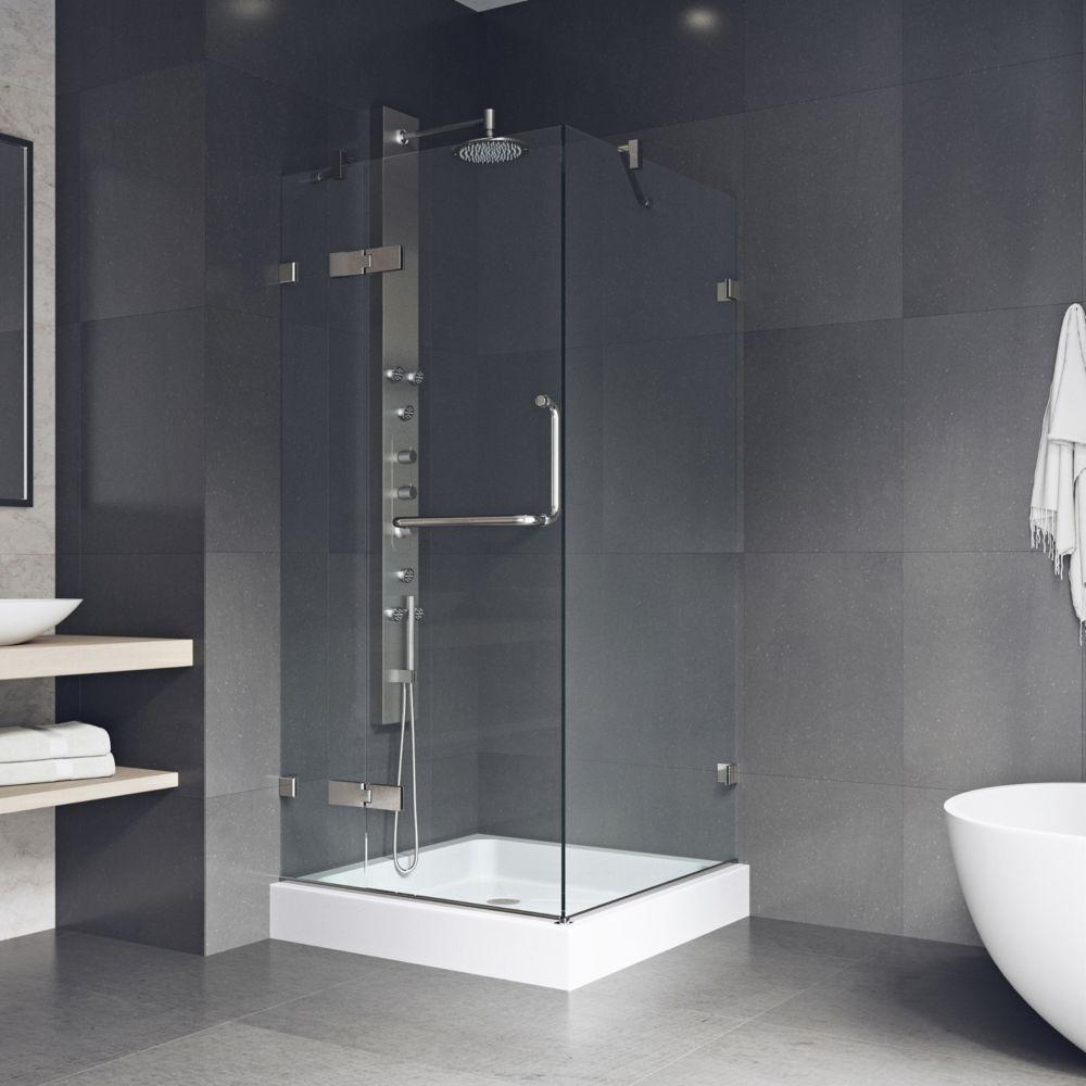 Paroi de douche base sans cadre transparente et en nickel brossé, 32 pouces x 32 pouces