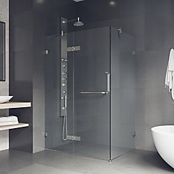 VIGO Monteray 46 inch x 73.375 inch Frameless Corner Hinged Shower Enclosure in Brushed Nickel with Clear Glass