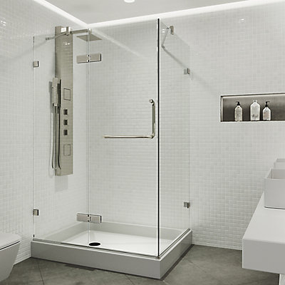 Vigo VIGO 32-Inch x 40-Inch Frameless Shower Stall in Clear with ...