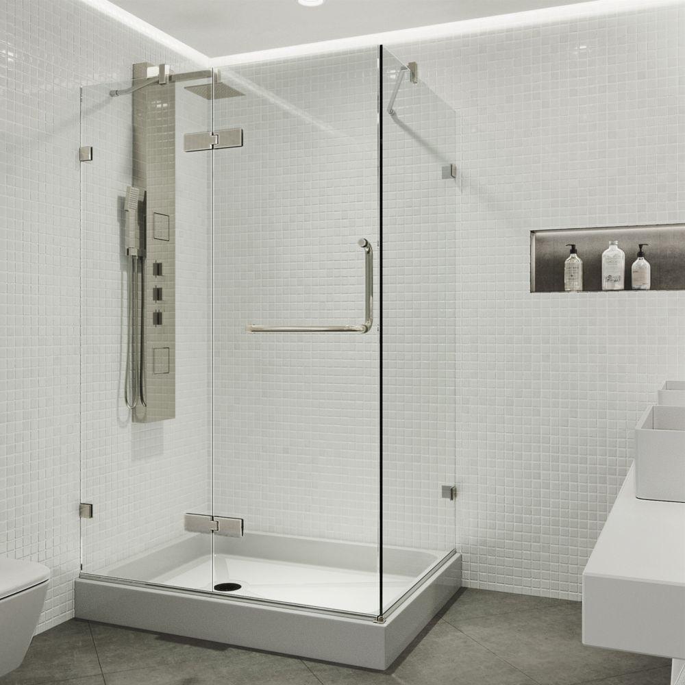 Paroi de douche base gauche sans cadre transparente et en nickel brossé, 32 pouces x 40 pouces