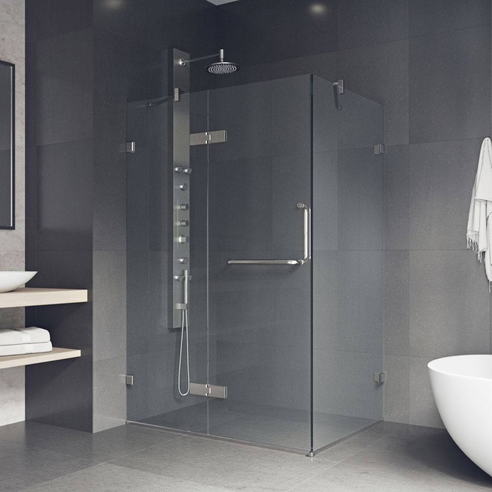 VIGO 32-Inch  x 48-Inch  Frameless Shower Stall in Clear with Brushed Nickel