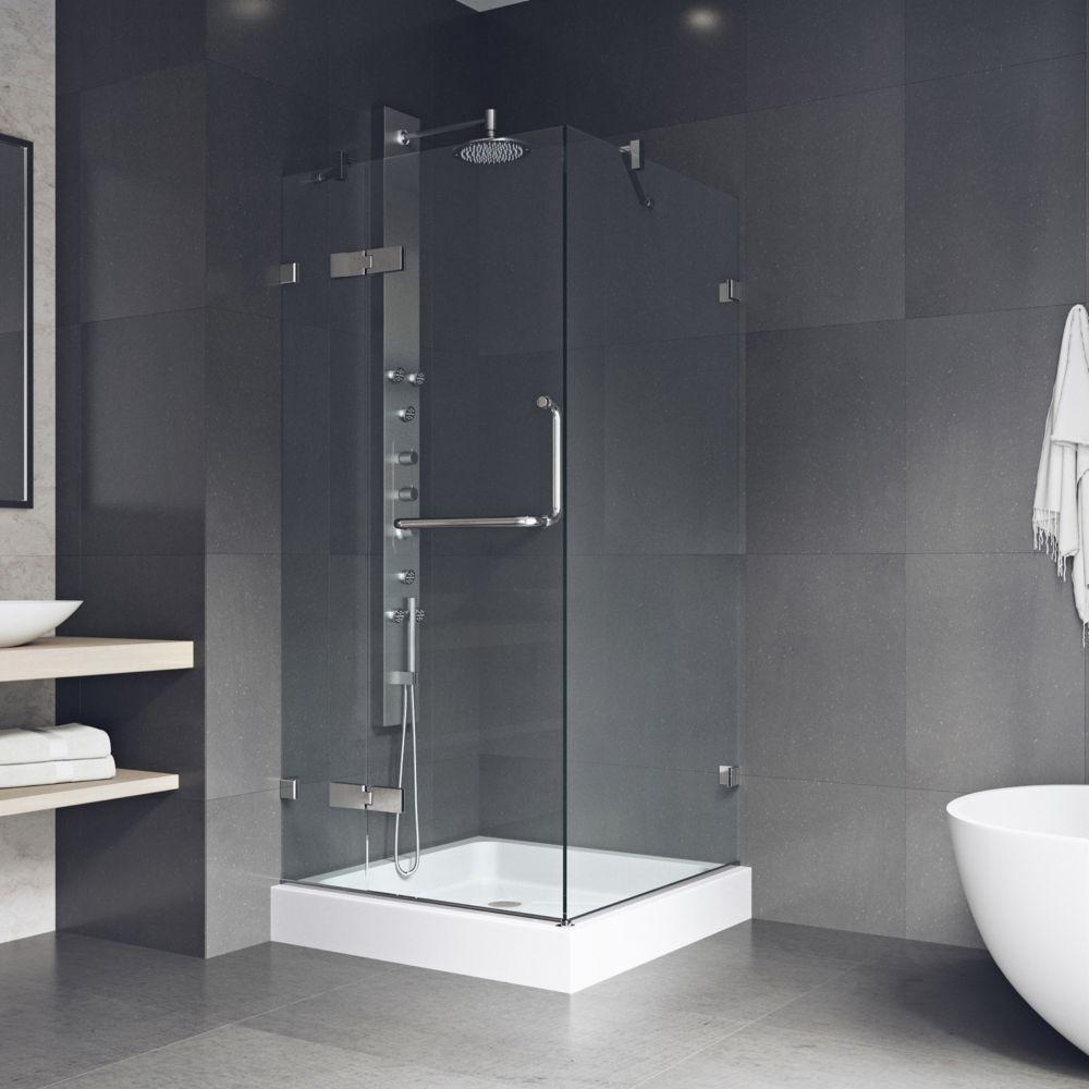 Paroi de douche sans cadre transparente et chromée, base, 32 pouces x 32 pouces
