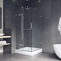 VIGO Monteray 32.375 inch x 79.25 inch Frameless Pivot Shower Enclosure in Chrome and Clear Glass with Base in White