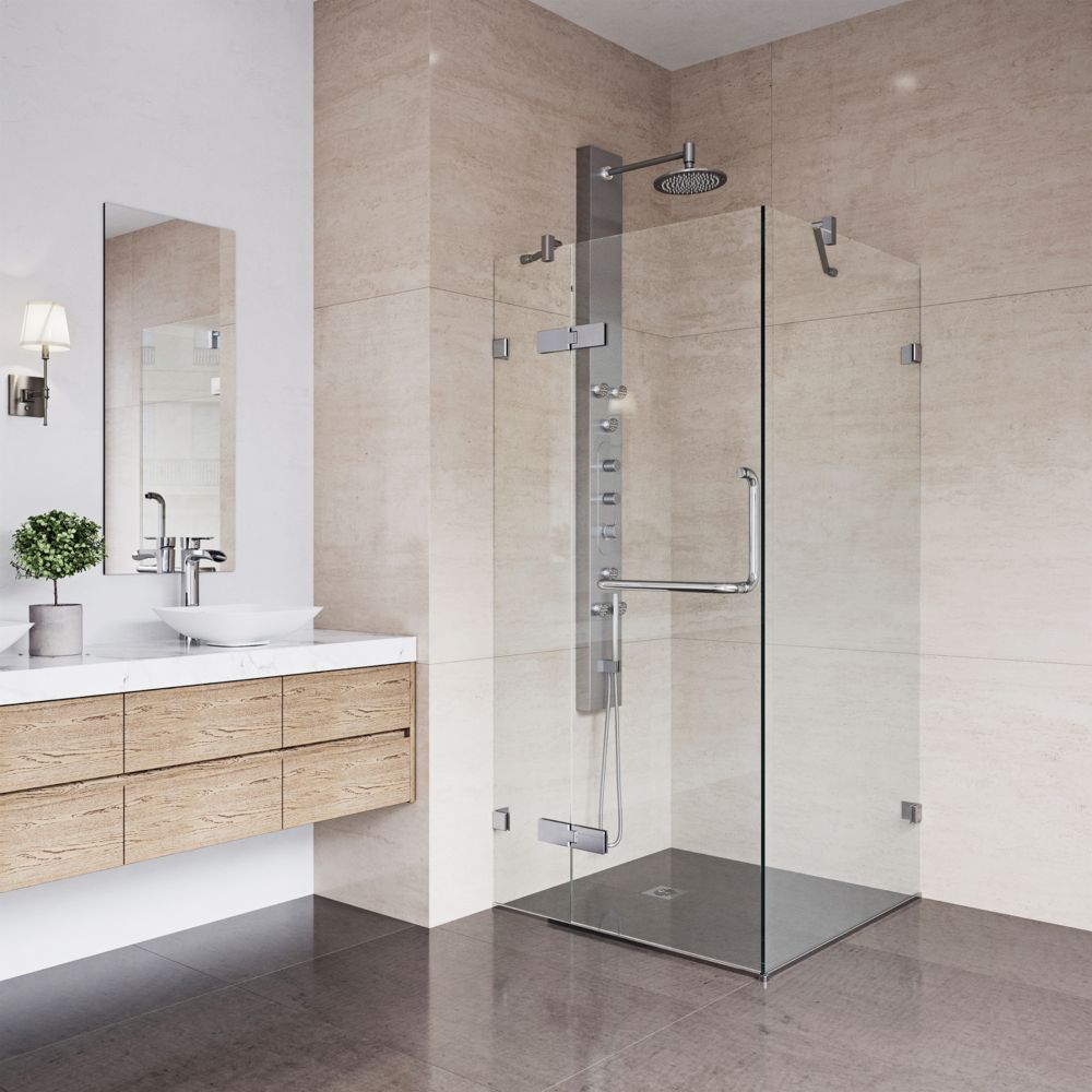 Paroi de douche sans cadre transparente et chromée, 36 pouces x 36 pouces, verre 3/8 pouces