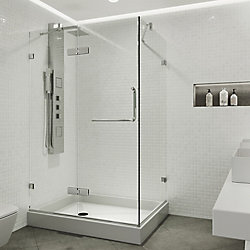 VIGO Monteray 48.125 inch x 79.25 inch Frameless Hinged Shower Enclosure in Chrome with Clear Glass with Left Base in White