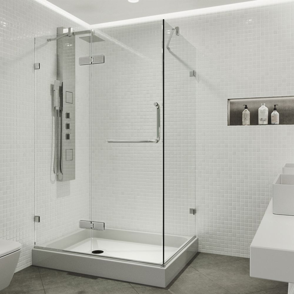 VIGO 36-Inch  x 48-Inch  Frameless Shower Stall in Clear with Chrome