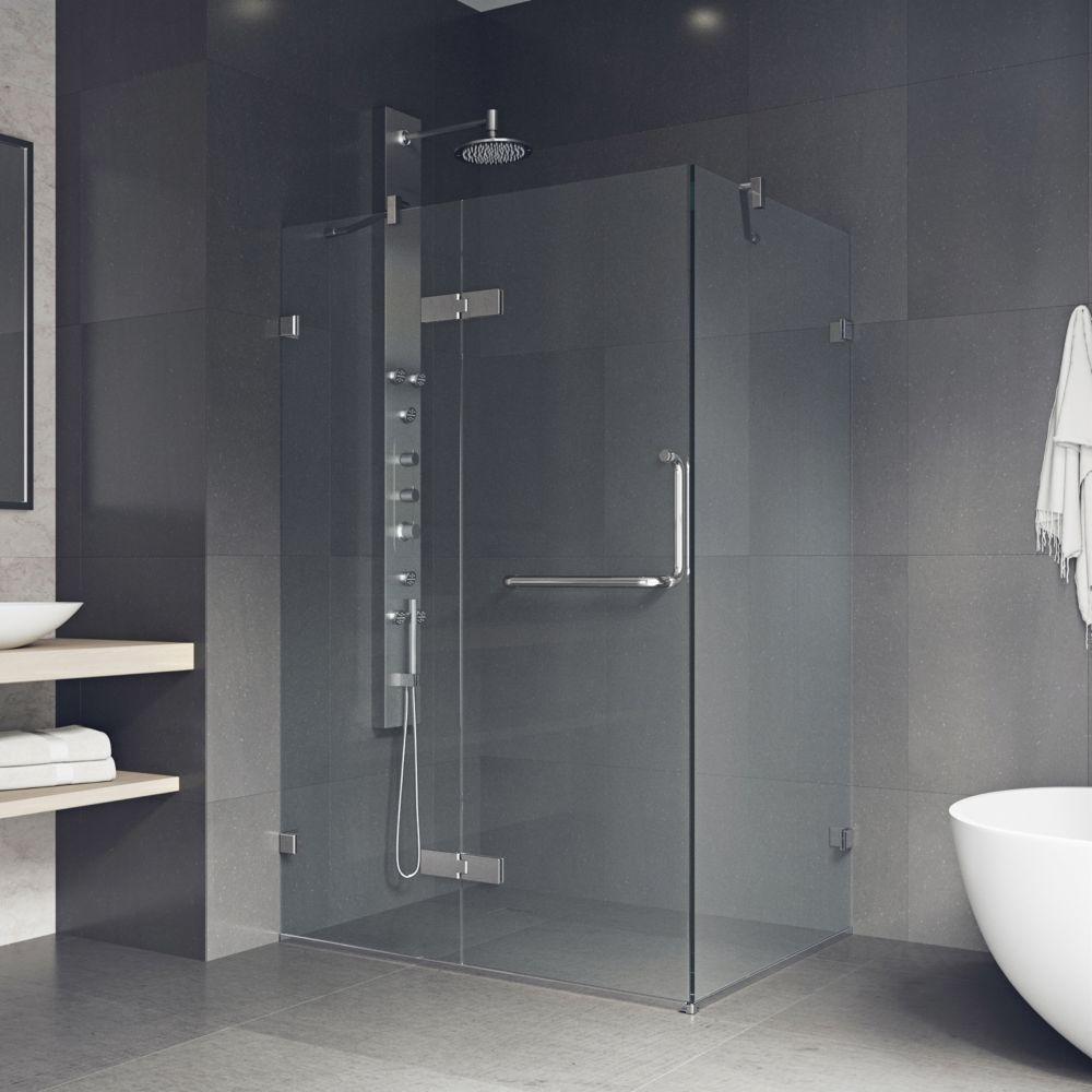 Paroi de douche sans cadre transparente et chromée, 32 pouces x 40 pouces, verre 3/8 pouces