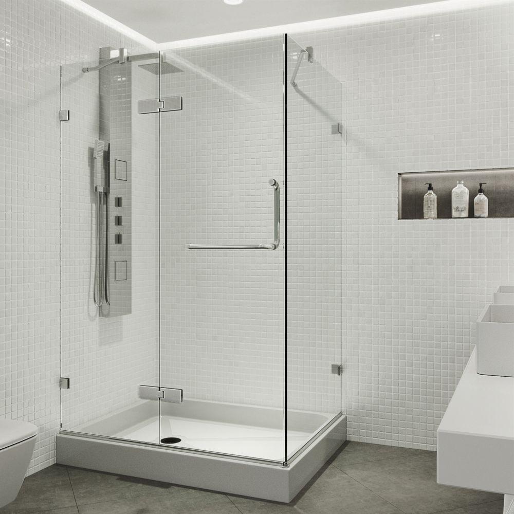 Paroi de douche sans cadre transparente et chromée, base gauche, 32 pouces x 40 pouces