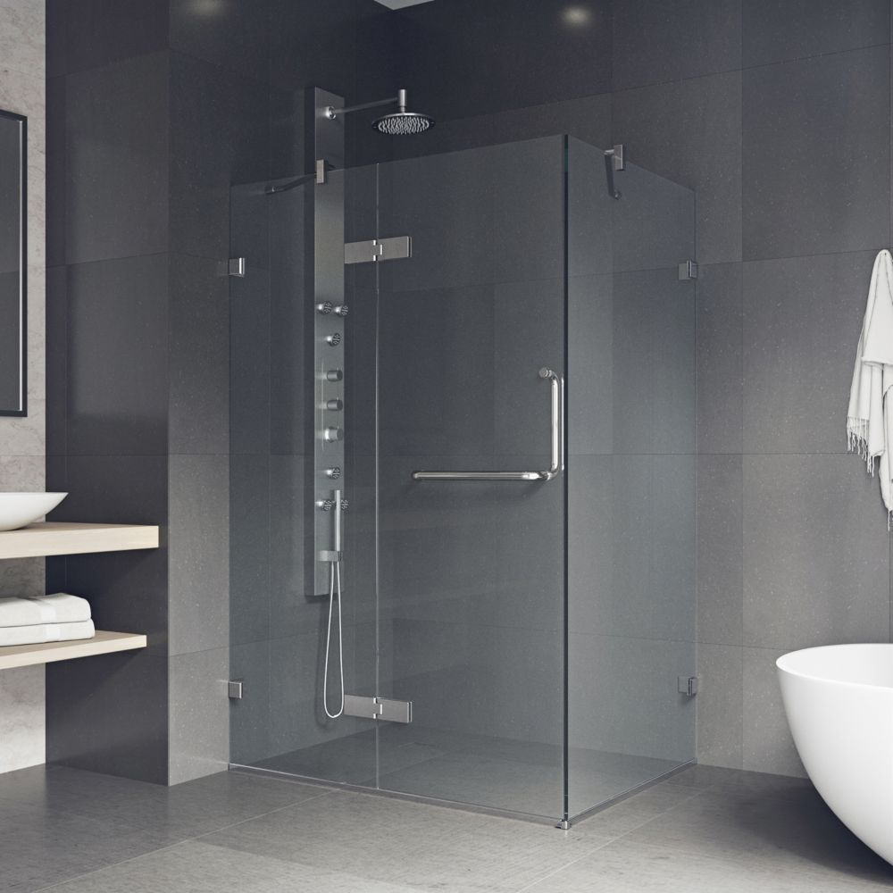 VIGO 32-Inch  x 48-Inch  Frameless Shower Stall in Clear with Chrome
