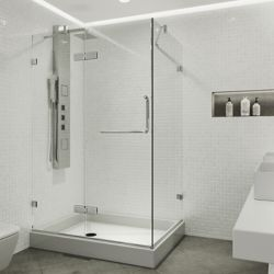 VIGO Monteray 48.125 inch x 79.25 inch Frameless Pivot Shower Enclosure in Chrome with Clear Glass with Left Base in White