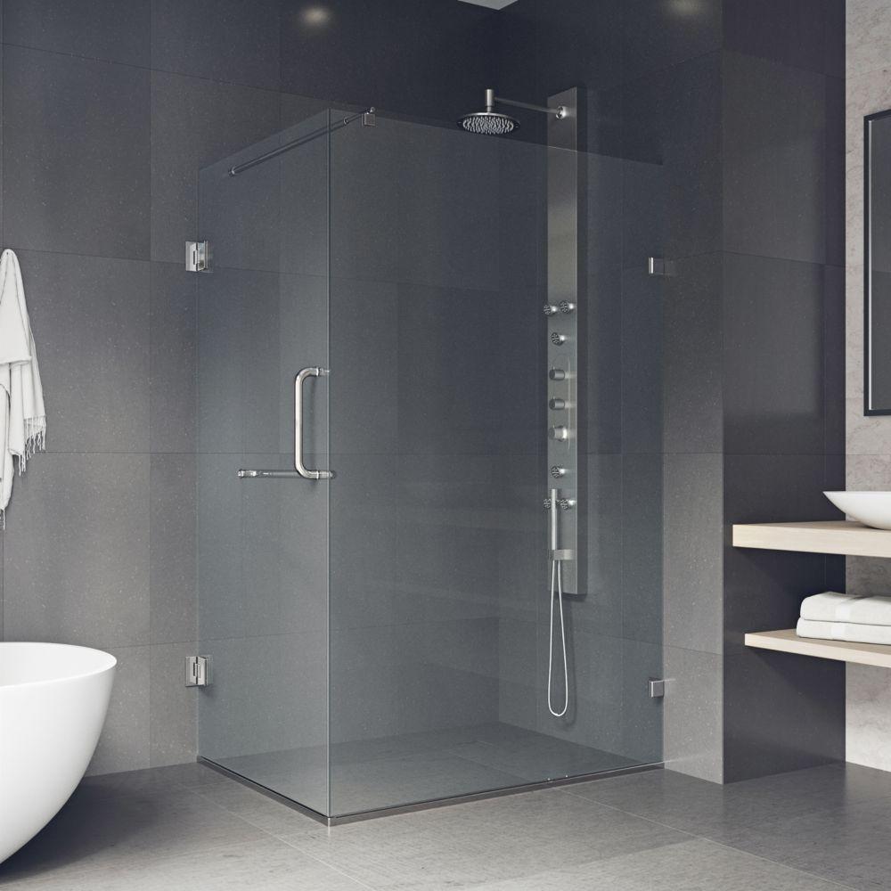 vigo paroi de douche sans cadre transparente et en nickel bross 36 pouces x 48 pouces home. Black Bedroom Furniture Sets. Home Design Ideas