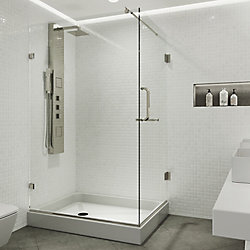 VIGO Pacifica 48.125 inch x 79.25 inch Frameless Pivot Shower Enclosure in Brushed Nickel with Clear Glass and Left Base