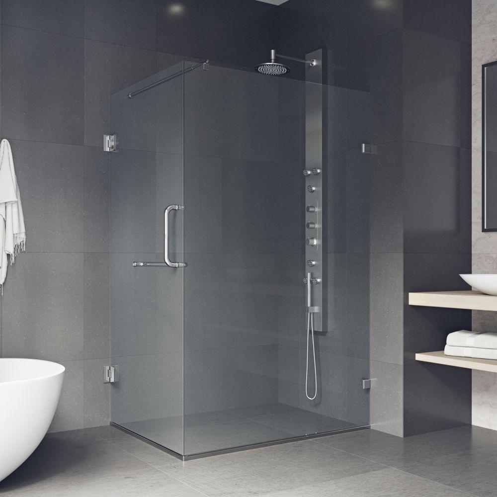 Paroi de douche sans cadre transparente et chromée, 36 pouces x 48 pouces, verre 3/8 pouces