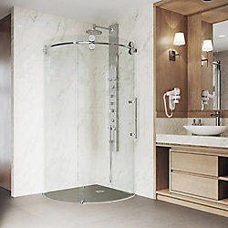 VIGO Sanibel 38 inch x 74.625 inch Frameless Corner Bypass Round Shower Enclosure in Chrome with Right-Sided Opening