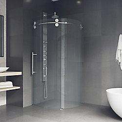 VIGO Sanibel 40.625 inch x 74.625 inch Frameless Corner Bypass Shower Enclosure in Chrome with Left-Sided Opening