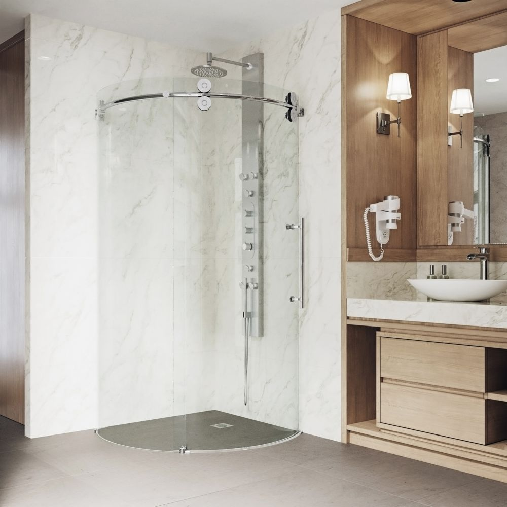 Clear and Chrome Frameless Round Shower Enclosure Right-Sided Door 40 inch by 40 inch VG6031CHCL40R Canada Discount
