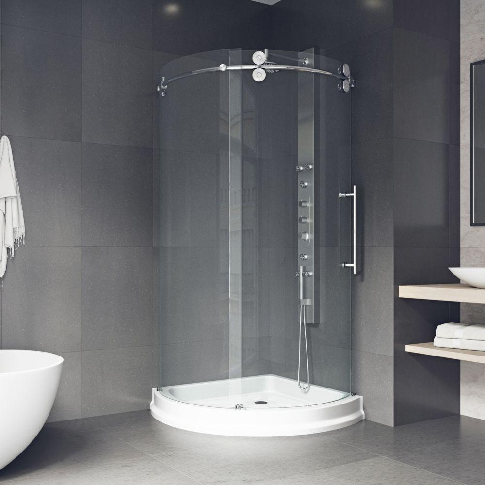 Nautis gs 40 in x 72 in completely frameless hinged for Discount frameless shower doors