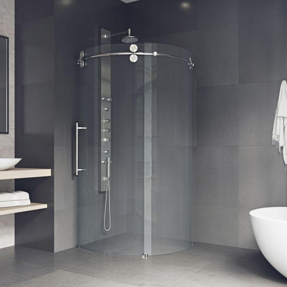 Stainless Steel Bathroom Stalls Property: Vigo VIGO 36-Inch X 60-Inch Frameless Shower Stall In