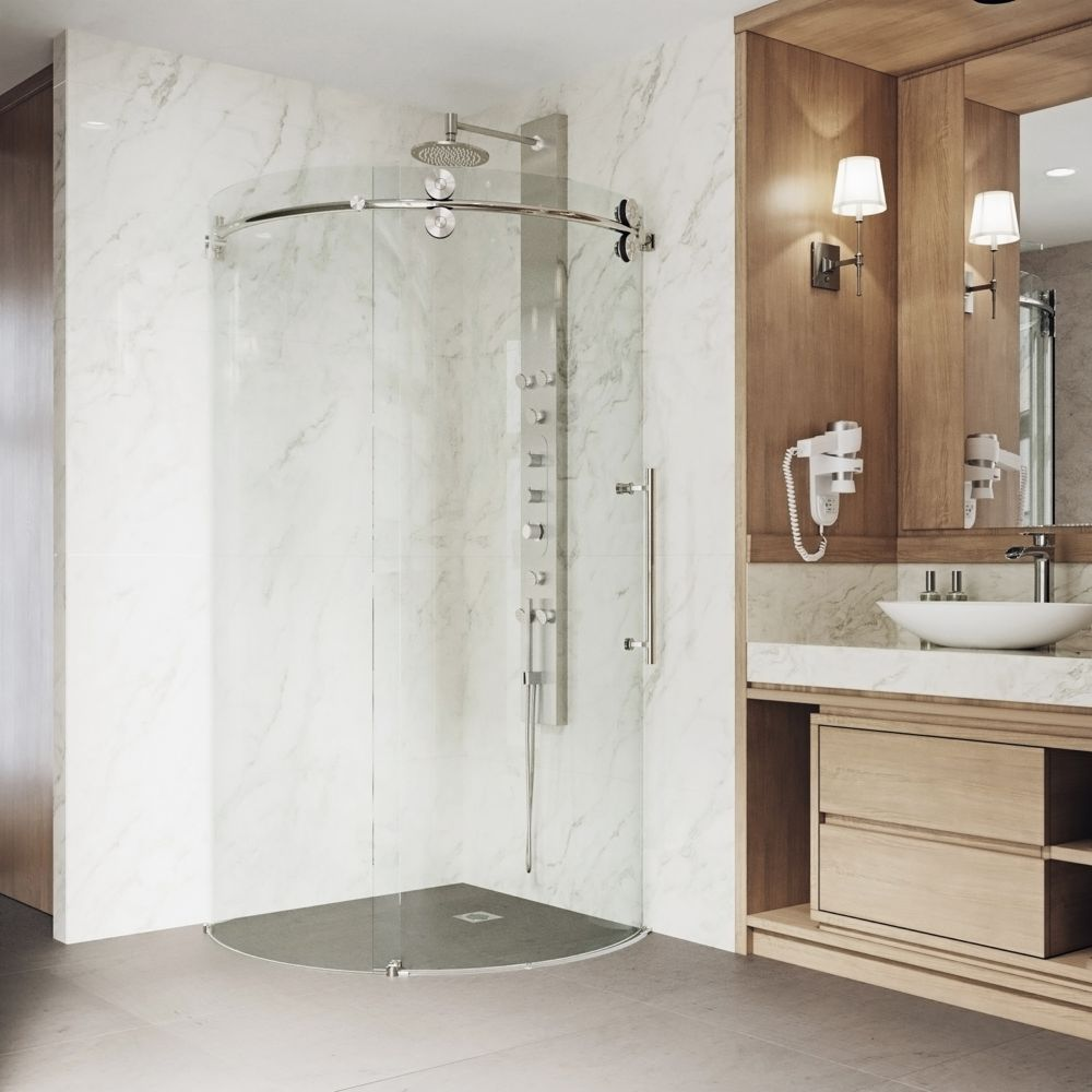 VIGO 36-Inch  x 36-Inch  Frameless Round Shower Stall in Clear with Stainless Steel